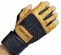 Leather Wristwrap Weight Training Gloves